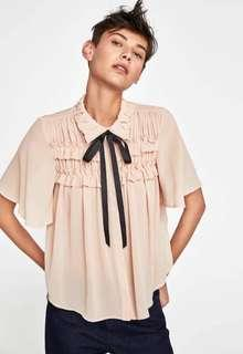 Zara ruffled blouse with bow top