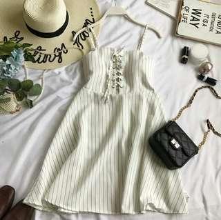 🚚 (5col) Ashley striped lace up dress