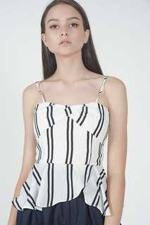 🚚 MDS KENZIE PEPLUM TOP IN WHITE STRIPES