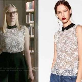 Zara black and white laced top