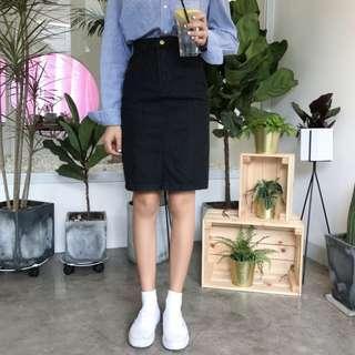 🚚 PO: Tiffany's Black Denim Midi Skirt (Korean Fashion)