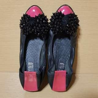 Black Red Flats with Studded Ribbon