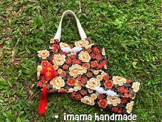 Cheongsum style tangerine tote bag & 2 slots angbao organizer