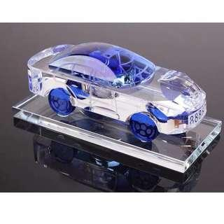 888888 Car Plate Crystal Glass Car Model Display