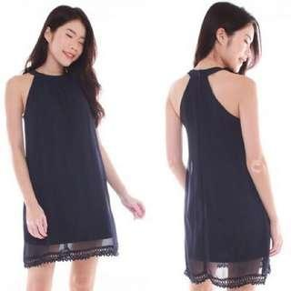 Navy Logan Halter Chiffon Dress INSTOCK