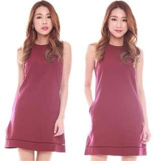 $22 Emerson Halter Basic Dress in Maroon INSTOCK CNY