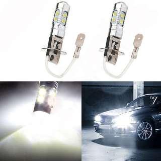 H3 10-LED 6000K White LED Bulbs for Fog or Head Lamp