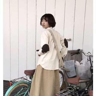 made in korea 全新深藍色補丁裇衫