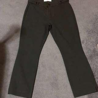 Mango Casual Slim Fit Pants (dark green)