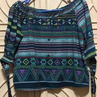 Off Shoulder Top w/ Aztec Pattern