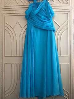 Custom-Made Ann Cuatico Large (or XL) Turquoise Gown