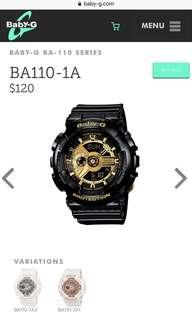 🚚 Baby-G BA-110 Series (Black with gold details)