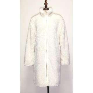 NEW NWT GAP Women's Winter White Faux Fur Long Coat Jacket Small Fluffy Fleece Warm Cardigan Authentic America 全新 連牌 真品 女裝 白色 冬天 暖 仿毛皮 毛毛 抓毛 長褸 大衣 外套 美國