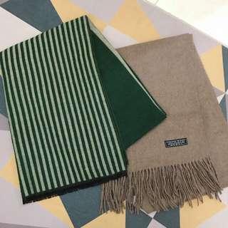 🚚 秋冬❄️ 綠色 直條紋拼接撞色雙面圍巾 / 超暖可可色流蘇圍巾 大地色 羊毛