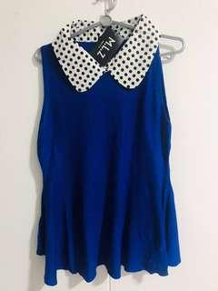 🚚 🎉 Clearance Sale! Navy Blue Top (polkadot)with collar