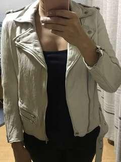 Off White Real Lambskin Moto Leather Jacket