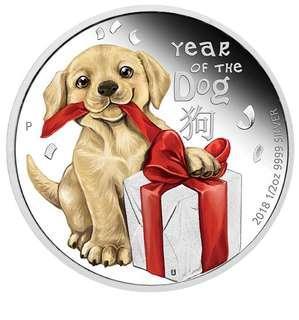 小狗 9999純銀幤1/2 OZ BABY DOG – LUNAR YEAR OF THE DOG – 2018 1/2 OZ PURE SILVER PROOF COIN – PERTH MINT – AUSTRALIA