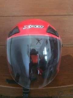 Helm XPOT with Bluetooth Headset and Microphone DOT Half Face/Full Face + Cover