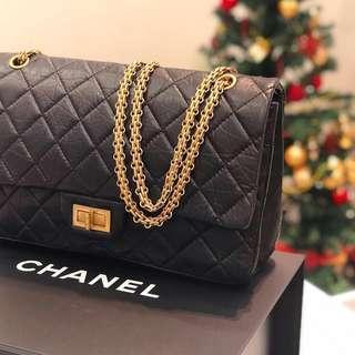🖤Superb Deal!🖤 Chanel 2.55 Reissue 227 Flap in Black Distressed Calfskin GHW