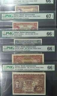 Malaya king 1941 1, 5, 10, 20, 50 cents UNC