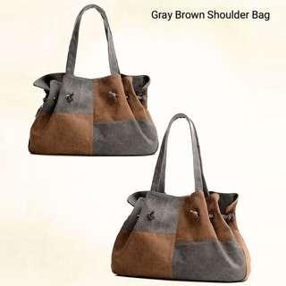 Gray Brown Shoulder Bag