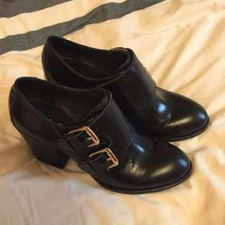 進口厚跟復古真皮牛津鞋