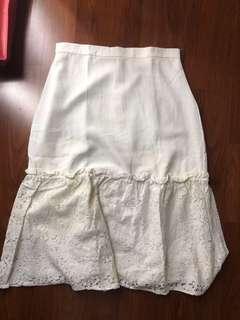 Cotton ink white skirt