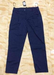 Zalora Navy Pinstripe Pants