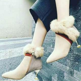 New 2019 Cotton Ankle High Heel Boots