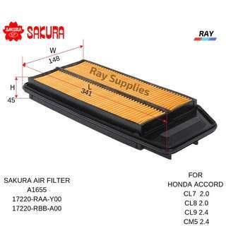 SAKURA AIR FILTER A-1655 A1655 HONDA ACCORD 2.0 CL7,CL8 ,2.4 CL9,M5