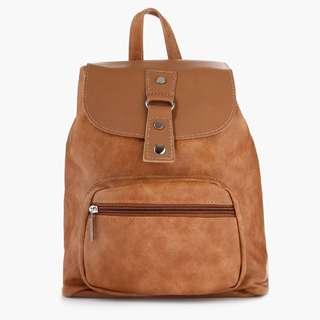 Parisian Faux Leather Backpack (Tan)