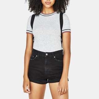 Bershka Black High Waist Cuffed Denim Shorts