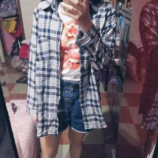 🚚 中長版藍白格紋襯衫