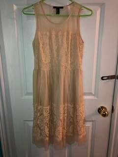 Forever 21 Cream/Blush Lace Dress