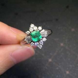 18K金天然祖母綠鑽石戒指 Natural emerald dia ring