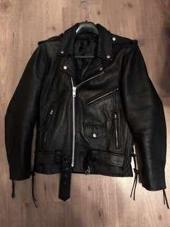 Genuine Cow Hide Leather Biker Jacket