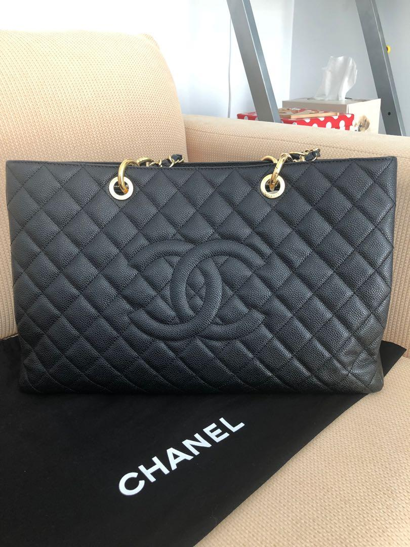 Authentic Chanel GST XL Black Caviar Leather Grand Shopping Tote GHW w RECEIPT