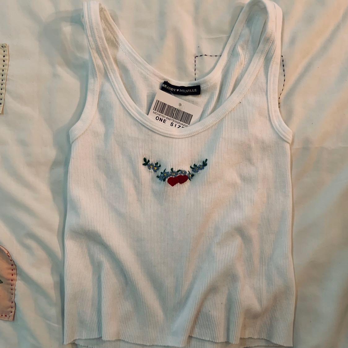 988b8a2de872bd Bnwt Brandy Melville embroided floral hearts Sheena Tank TOP ...