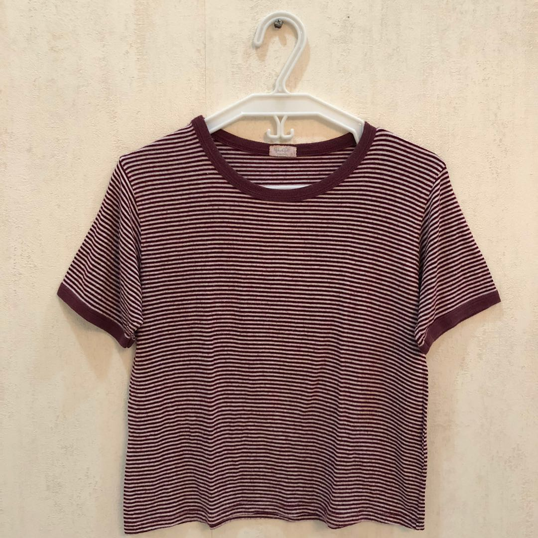 5192d86ff6 Brandy Melville maroon and white striped tshirt, Women's Fashion ...