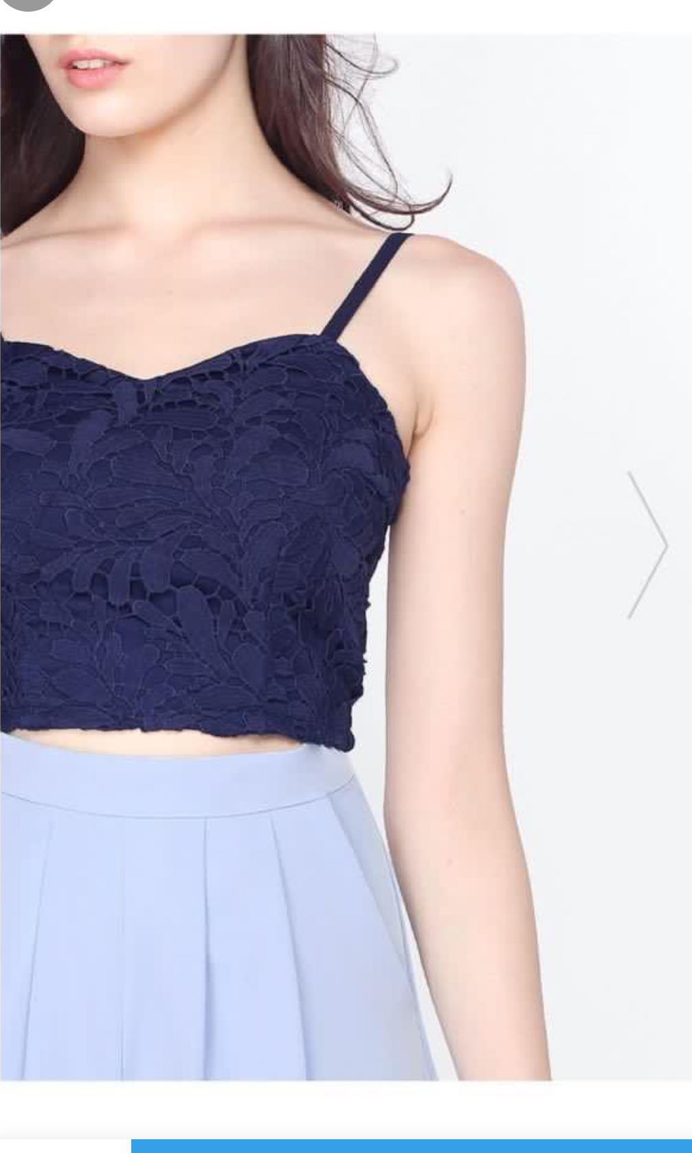 cdde340889e Fayth crochet navy top, Women's Fashion, Clothes, Tops on Carousell