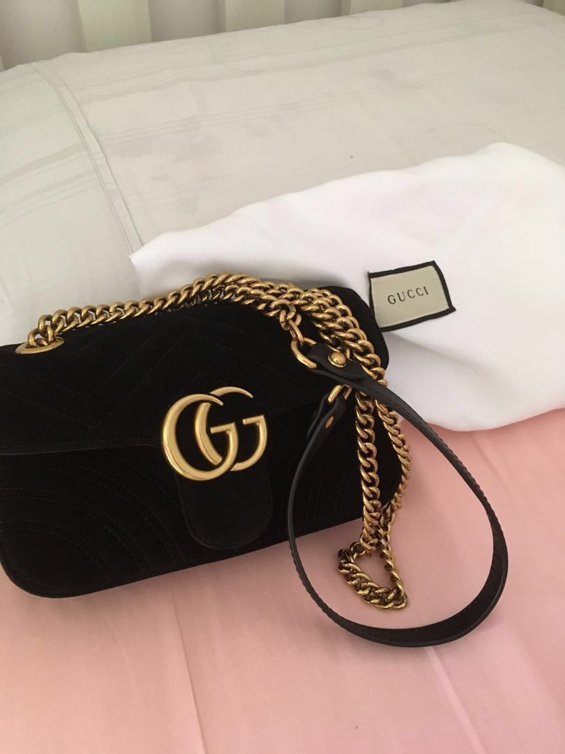 4f69cecac4e9 GG Marmont (black velvet) size small, Luxury, Bags & Wallets on ...