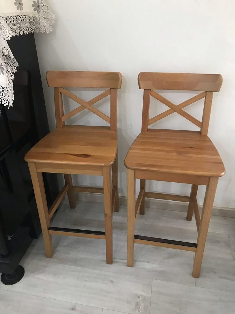 Phenomenal Ikea Ingolf Bar Stool With Backrest Antique Stain Furniture Andrewgaddart Wooden Chair Designs For Living Room Andrewgaddartcom