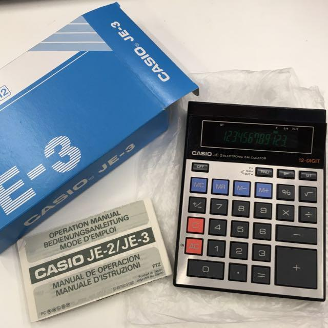 Japan Made Vintage Casio JE-3 Calculator With Green