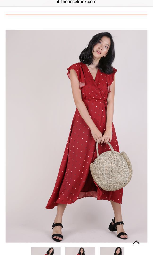181dd65b93 JUDITH WRAP FRONT MAXI DRESS (Red), Women's Fashion, Clothes ...