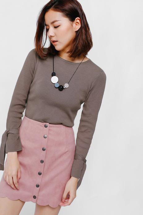 LOVE BONITO Sadriana Button Front Scallop Hem Suede Skirt (Blush ... dd820eda3c