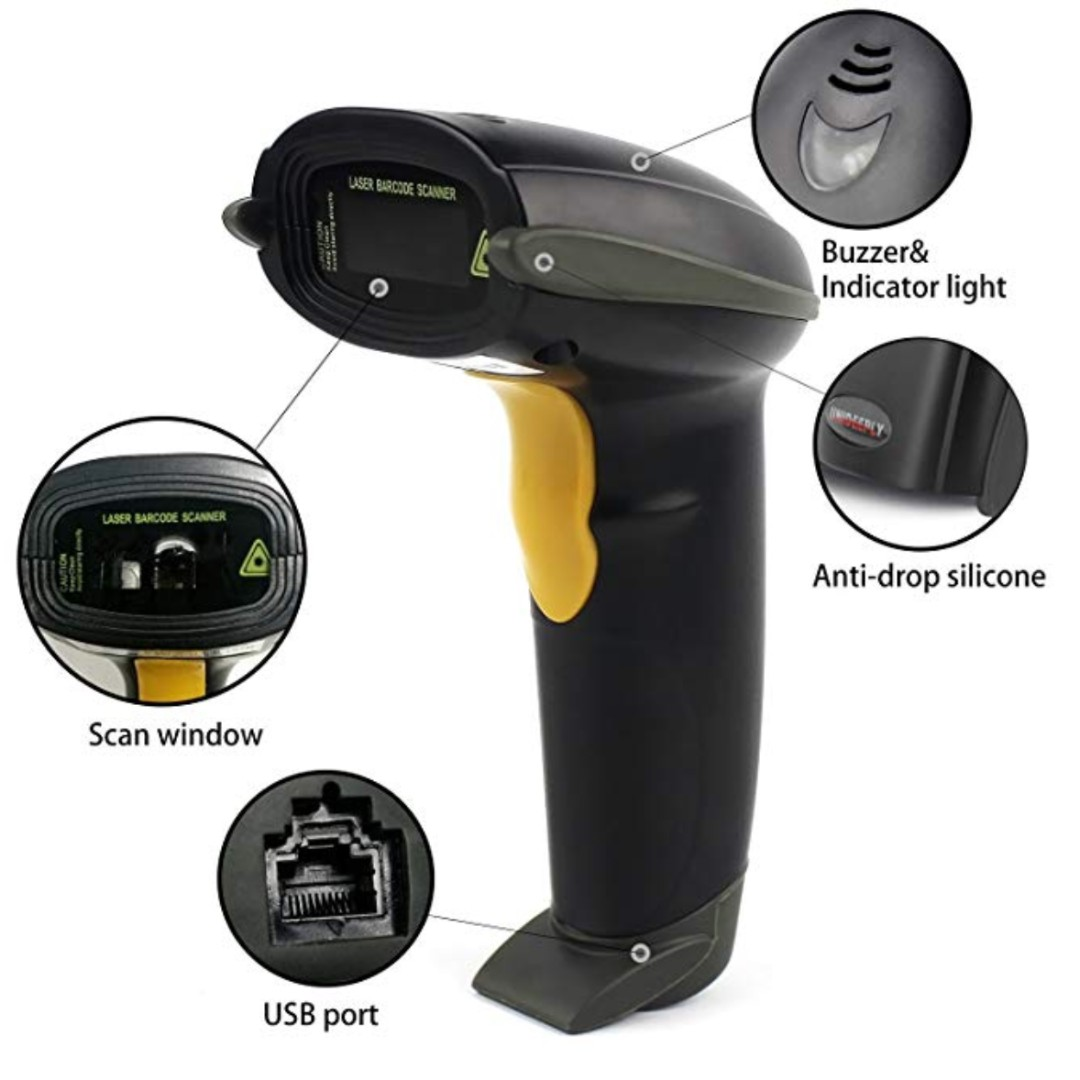 P13 UNIDEEPLY Laser Barcode Scanner,1D Hand-Free and Handheld Barcode  Reader, USB Barcode Reader with High Speed up to 200scans/sec, with  Adjustable