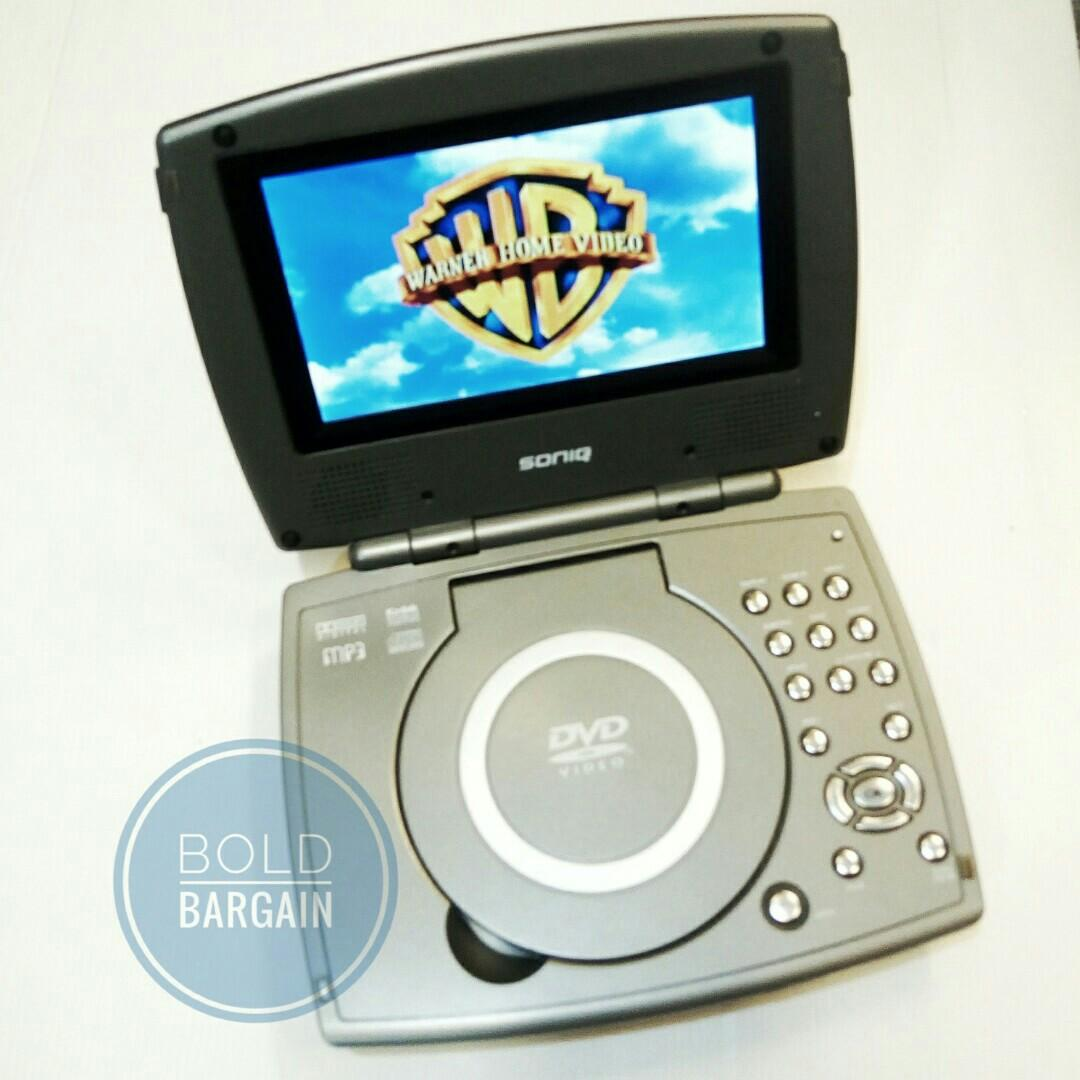 "SONIQ 7"" Portable DVD Mp3 CD Player AV out Coaxial Audio Model : QMD70B/2"