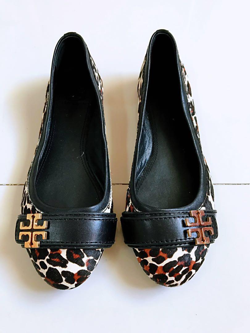 f1793741632 Tory Burch Calf Hair Leopard Print Ballet Flats Shoes US 7