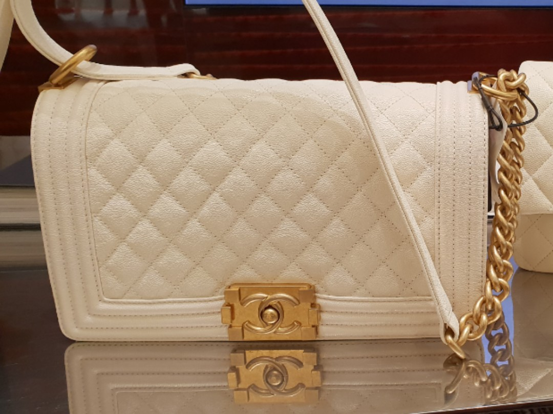 714a56c3aeac White Chanel Boy Medium - Grained Calfskin Caviar with Brushed Gold Hardware,  Luxury, Bags & Wallets, Handbags on Carousell