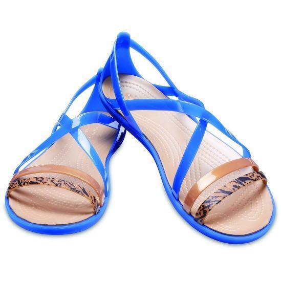aea49f517f3 WOMEN S CROCS ISABELLA GRAPHIC STRAPPY SANDALS BLUE JEAN GOLD ...